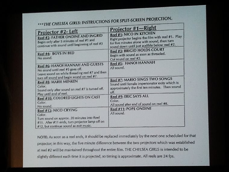 THE CHELSEA GIRLS - Instructions for split-screen projection